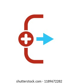 Exit icon, Logout and output icon with add sign. Exit icon and new, plus, positive symbol. Vector