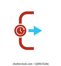 Exit icon, Logout and output icon with time sign. Exit icon and countdown, deadline, schedule, planning symbol. Vector