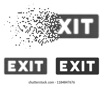 Exit label icon in fragmented, dotted halftone and undamaged versions. Elements are grouped into vector disappearing exit label pictogram. Disappearing effect involves rectangular dots.