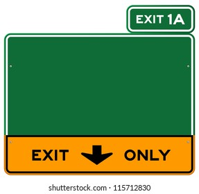 Exit Only Sign - Green and yellow highway sign defining lanes