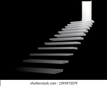 Exit. Opening door. stair for success, career, work, job, achievement, development, growth, progress, vision, future