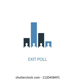 Exit poll concept 2 colored icon. Simple blue element illustration. Exit poll concept symbol design from elections set. Can be used for web and mobile UI/UX