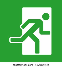 Exit sign, emergency exit icon, vector illustration on green background