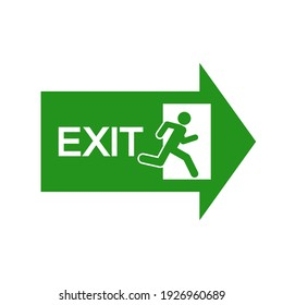 The exit sign in an emergency. Simple vector illustration on a white background.