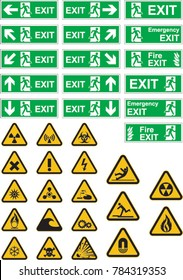 Exit, Warning and Hazard Signs