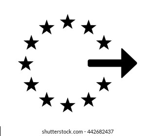Exiting or withdrawal from the European Union / EU flat vector icon for apps and websites