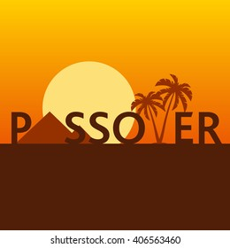 Exodus Concept Illustration for Jewish Religion Holiday Passover, Pesach, Egypt Desert with Pyramids and Palms, with English text