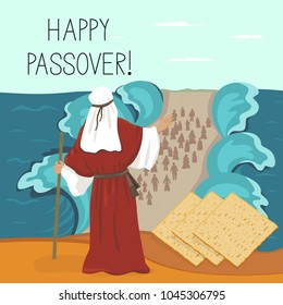 Exodus of the Jews from Egypt, Moses parted the sea. Pesach, Easter. illustration.