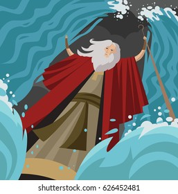 exodus moses crossing the red sea with miracle opening the water with staff