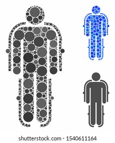 Exoskeleton composition of circle elements in variable sizes and color tinges, based on exoskeleton icon. Vector circle elements are combined into blue illustration.