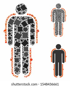 Exoskeleton composition of tremulant items in different sizes and color hues, based on exoskeleton icon. Vector tremulant dots are grouped into composition.