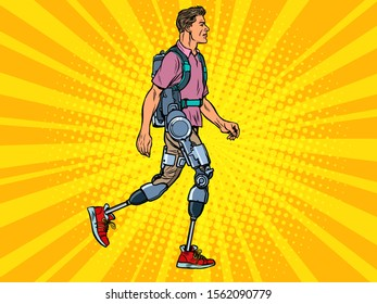 exoskeleton for the disabled. A man legless veteran walks. rehabilitation treatment recovery. science and technology. pop art retro vector illustration kitsch vintage drawing 50s 60s