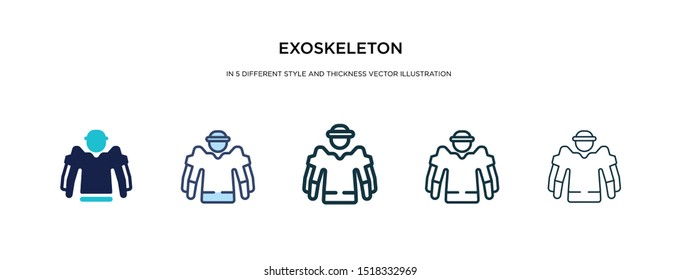 exoskeleton icon in different style and thickness vector illustration. Two colored and black exoskeleton vector icons in filled, outline, line, stroke style can be used for web, mobile, UI