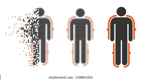 Exoskeleton icon in dispersed, pixelated halftone and undamaged whole variants. Points are combined into vector dispersed exoskeleton icon. Disintegration effect uses rectangle particles.