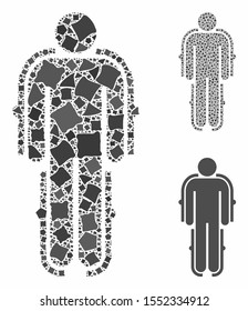 Exoskeleton mosaic of ragged elements in variable sizes and color hues, based on exoskeleton icon. Vector ragged pieces are composed into mosaic. Exoskeleton icons collage with dotted pattern.