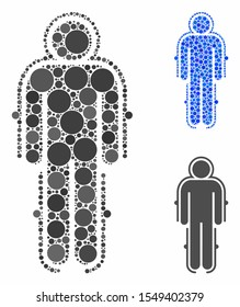 Exoskeleton skafandr composition of round dots in various sizes and shades, based on exoskeleton skafandr icon. Vector round elements are organized into blue collage.