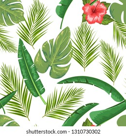 Exotic abstract vector jungle or tropical leaf and flower seamless pattern. Vector illustration. Green leaf and white background.