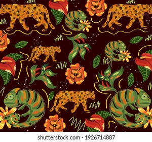 exotic animals and flowers pattern vector illustration design