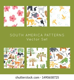 Exotic animals and landscape hand drawn vector seamless patterns set. Scandinavian illustrations endless textures bundle. Wrapping paper, textile,  background fill.
