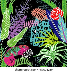 Exotic animals leopard and hameleon in the exclusive tropic jungle hand drawn cartoon style. Print summer floral plant. Nature trendy wallpaper. Seamless vector pattern