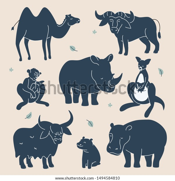 Exotic Animals Silhouettes Set Flat Design Stock Vector (Royalty ...