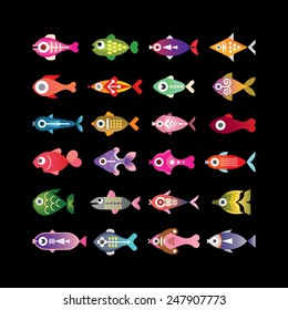Exotic aquarium fishes - set of colorful vector icons. Isolated on black background.