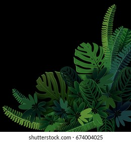exotic background with  tropical plants In the style of cut paper.3D