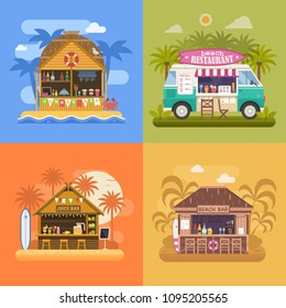Exotic beach bar set. Summer restaurants on sea coast and food van sailing fruit shakes, juice and cocktails. Beach party banners with tropical tiki bar hut, bungalow and ice cream truck.