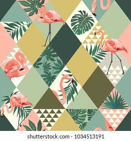Exotic beach trendy seamless pattern illustrated floral vector tropical leaves. Jungle pink flamingos Wallpaper print background mosaic
