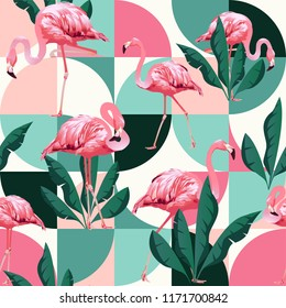 Exotic beach trendy seamless pattern, patchwork illustrated floral vector tropical banana leaves. Jungle pink flamingos Wallpaper print background mosaic.