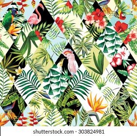 Exotic beach trendy seamless pattern, patchwork illustrated floral vector tropical banana leaves, hibiscus flower, lilies, plumeria. Jungle parrots and pink flamingos Wallpaper print background mosaic