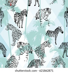 Exotic beach trendy seamless pattern, patchwork illustrated tropical animals vector. Jungle zebra, tiger, lion, panther Wallpaper print tropic palm trees background mosaic
