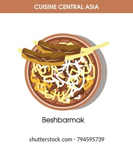 Exotic Beshbarmak on plate from Central Asian cuisine