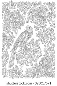 Exotic bird with fantastic flowers, branches, leaves. Black and white contour thin line. Vector decorative fantasy stylized parrot silhouette in the jungle. T-shirt print. Coloring book vertical page