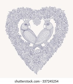 Exotic birds with fantastic flowers. Black and white contour thin line drawing. Vector fantasy floral heart shaped frame with love couple parrot silhouette. T-shirt print. Coloring book vertical page