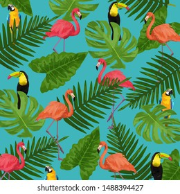 Exotic birds pattern with tropical leaves