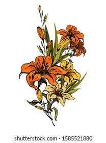 Exotic bright bouquet of tiger lilies. Flowers, leaves and twigs with buds are collected in an elegant composition on a white background. Isolated vector for print, textile, postcards.