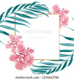 Exotic camelia flowers and green tropical jungle palm tree leaves. Border frame card banner flyer template. Text placeholder. Clean white background. Vector design illustration.