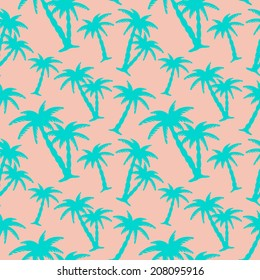 Exotic caribbean seamless pattern with silhouettes tropical coconut palm trees. Summer, beach holidays. Repeating print background texture. Fabric design. Wallpaper - vector
