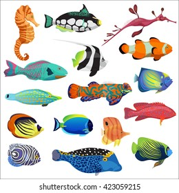 Exotic cartoon colorful tropical fish collection. Marine animals set.