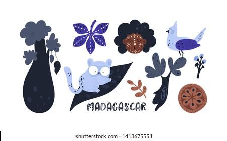 Exotic cartoon illustration set with trees, animals, bird, aborigine, jungle leaves. Lemur, baobab. Summer adventure. For book, sticker, print, poster, card, decoration, textile, texture and souvenir