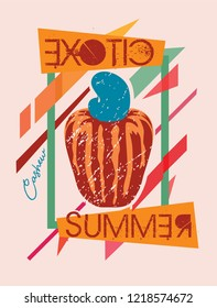 Exotic cashew summer and geometric frame stamp vector illustration.