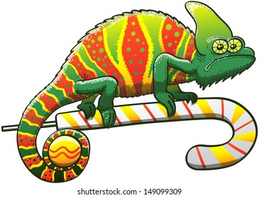 Exotic chameleon exhibiting a Christmas camouflage, staring at you in a dubious attitude and walking gripped to a candy cane while holding a bauble with its prehensile tail
