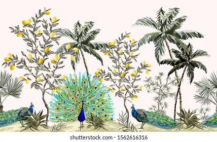 Exotic chinoiserie wallpaper with peacocks, lemons trees, tropical plants. Exotic jungle wallpaper with palms. Isolated on white background.