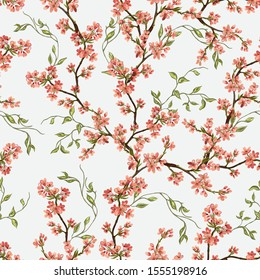 Exotic chinoiserie wallpaper. Tropical vintage botanical sakura tree, floral seamless japanese pattern on white background. Exotic jungle wallpaper.