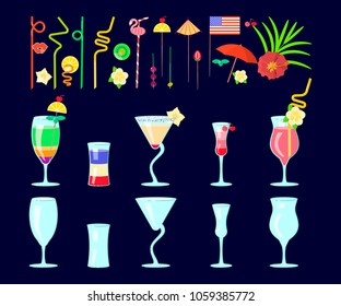 Exotic cocktail drink creator. Set of different shapes coctail glass and straws, parasols, umbrellas, toothpick for party decoration. Vector illustration eps 10