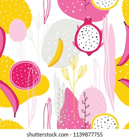 Exotic colorful tropical fruits Dragon fruit Pitaya Pitahaya Bananas Flowers leaves Abstract elements Seamless background pattern Unique hand drawn stylish design