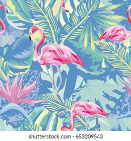 Exotic composition of tropical birds pink flamingo. Jungle beach seamless pattern wallpaper blue leaves and flowers background