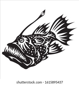 Exotic, decorative piranha fish. Emblems for t-shirts, logo or tattoo with scribbles, outline outline design linear elements in black outline on white background. Vector isolated illustration