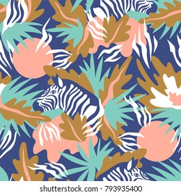 Exotic endless background. Vector seamless pattern with zebra and tropical leaves.